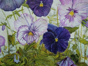 Flower Paintings, Floral, Pansies, Nature, Encaustic, Olive Stack,