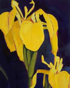 Flag Iris, Wild Iris, Painting, Yellow, Flower Paintings, Floral, Flower Art, Oil on Panel, Olive Stack