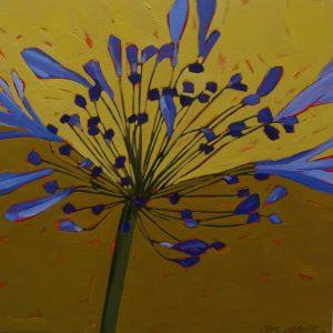 Agapanthus, Flower Paintings, Floral, Oil Painting, Olive Stack, Nature, Blue