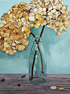 Flower Paintings, Floral, Bottle, Milk Bottle, Still Life, Dried Hydrangea, Olive Stack, Oil Painting