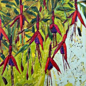 Fuchsia Encaustic Painting