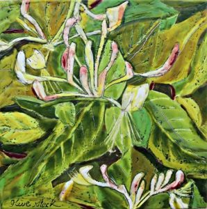 Honeysuckle Encaustic Painting