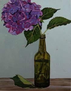 Hydrangea, Vintage Bottle, Still Life, Purple, Flower Paintings, Floral, Oil Painting, Olive Stack