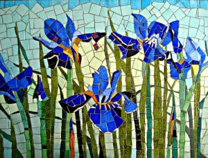 Iris, Mosaic, Ceramic, Glass, Painting with Glass