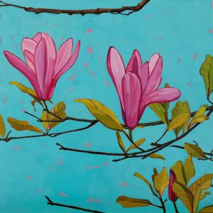 Magnolia, Magnolia Tree, Flower Paintings, Floral, Pink, Nature, Olive Stack, Oil Painting