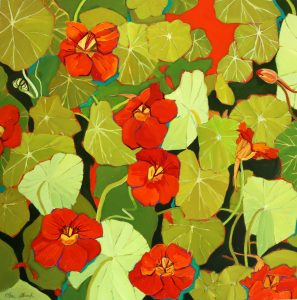 Flower Paintings, Floral, Nasturtium, Orange, Nature, Oil Painting, Olive Stack