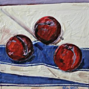 Plums on Striped Napkin