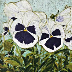Flower Paintings, Floral, Pansies, Encaustic, Nature, Fine Art, Olive Stack