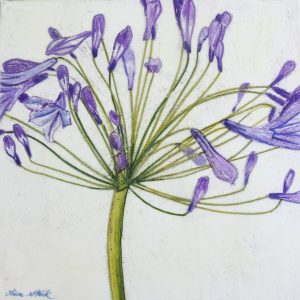 Agapanthus, Encaustic, Watercolour, Painting, Flower Paintings, Olive Stack