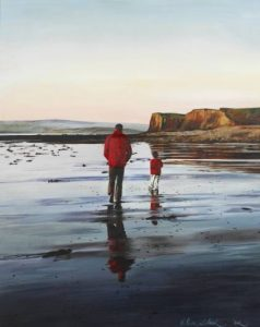 Evening Stroll Lahinch, Olive Stack, Print, Ireland