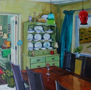 interiors, interior paintings, kitchen dresser, dining room, perspective, composition