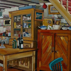 interiors, interior paintings, country kitchen, interesting interiors, perspective
